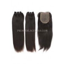 A Silk Base Closure with 2 Bundles Deal Brazilian Virgin Hair Weave Silky Straight