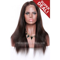 Dark Brown Color 2/4# Highlights Full Lace Wigs Indian Remy Hair Light Yaki