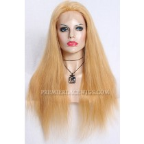 Blonde Color 27/613# Highlights Chinese Virgin Hair Natural Straight Full Lace Wigs