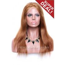 Light Auburn Color 30# Full Lace Wigs Chinese Virgin Hair Light Yaki