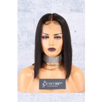 Blunt Cut Bob Style 360 Lace Wig, Brazilian Virgin Hair,Middle Part Yaki Straight