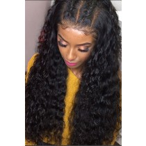 "Bomb Deep Curl 6"" Deep Middle Part 360° Lace Wigs,Indian Remy Hair,150% Thick Density,Pre-Plucked Hairline,Removable Elastic Bands"