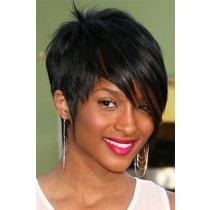Short Indian Remy Hair Machine Made Glueless Cap Wigs PWHH-13-1003