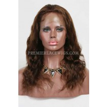 Clearance Full Lace Wig,Natural Wavy,Indian Remy Hair,4# Color,14 inches,120% Density,Medium Cap Size