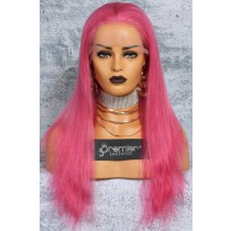 Pink Hair Full Lace Wig Chinese Virgin Human Hair Straight