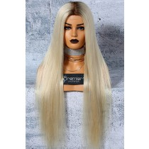 "Platinum Blonde Hair Full Lace Wigs 6""x6"" Silk Top Luxury Virgin Hair Silky Straight"