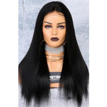 """250% Density 4.5"""" Lace Front Wigs Indian Remy Hair Yaki Straight Big Bomb Hair Seriously Thick Look"""