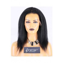 Clearance 13*6 Lace Front Wig,Indian Remy Hair,1# Color,12 inches,Kinky Straight,130% Density,Average Size,HD Lace