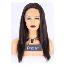 Clearance Full Lace Wig,Chinese Virgin Hair,Natural Straight,Natural Color,16 inches,120% Normal Density,Medium Size,Light Brown Lace