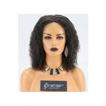 Clearance Gluess Lace Front Wig,10mm Curl,Mixed Grey Color,130% Density,Average Size, Medium Brown Lace.Pre-plucked Hairline