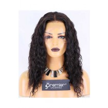 Glueless Lace Front Wig,Indian Remy Hair,16inches,Natural Color,Deep Wave,130% Density,Medium Size,Medium Brown Lace
