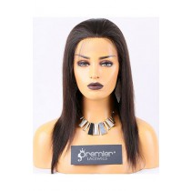 Clearance Full Lace Wig,Yaki Straight, Chinese Virgin Hair,Natural Color,12 inches,120% Normal Density,Medium Cap Size,Medium Brown Lace
