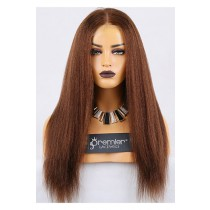 Clearance Full Lace Wig,Kinky Straight,100% Human Hair,4# Color,20 inches,120% Normal Density,Large Cap Size,Light Brown Lace