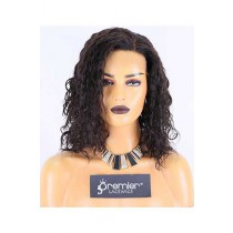 Clearance Lace Front Wig,Indian Remy Hair,Marry Curl,Natural Color,14 inches,130% Density,Average Size, Medium Brown Lace
