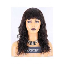Clearance Affordable Wigs With Bangs,Loose Curl,Indian Remy Hair,14inches,Natural Color,130% Density,Medium Size