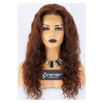 Clearance Glueless Full Lace Wig,Deep Body Wave,Brazilian Virgin Hair,4# Color,20 inches,150% Thick Density,Medium Cap Size,Light Brown Lace