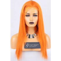 Clearance Full Lace Wig Straight,Chinese Virgin Hair,Orange Color,16 inches,120% Normal Density,Medium Cap Size,Light Brown Lace