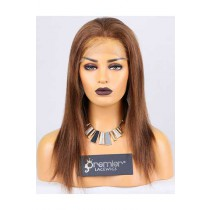 Clearance Full Lace Wig Yaki,Indian Remy Hair,30# Color,14 inches,120% Normal Density,Medium Cap Size,Light Brown Lace