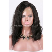 Clearance 360 Lace Front Wig,Wavy Bob,Indian Remy Hair,1B# Color,14 inches,150% Density,Medium Cap Size,Light Brown Lace