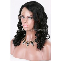 Clearance 4.5'' Deep C Part Wig,1# Color Jet Black,18 inches,Bouncy Wavy,Indian Remy Hair,Medium Cap Size,130% Density