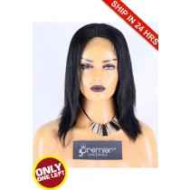 Super Deal 12 inches Lace Front Wig Layer Straight Indian Remy Hair, 1# Jet Black, Average Size, 130% Normal Density,Medium Brown Lace
