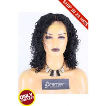 Super Deal 12 inches Lace Front Wig Water Wave Indian Remy Hair, 1# Jet Black, Average Size, 130% Normal Density,Medium Brown Lace