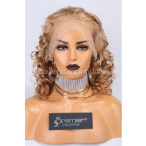 Clearance 360 Lace Front Wig,Curly Style,16 inches,16# Color,Brazilian Virgin Hair,150% Density,Large Cap Size,Transparent Lace