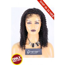Super Deal 14 inches Lace Front Wig Kinky Curl Brazilian Virgin Hair,1B#, Small Size, 130% Normal Density,Medium Brown Lace