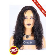 Super Deal 18 inches Lace Front Wig Peruvian Curl Indian Remy Hair, Natural Color, Average Size,130% Normal Density,Medium Brown Lace