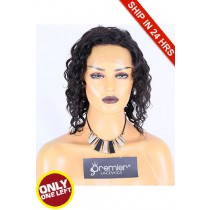 Super Deal 8 inches Lace Front Wig Curly Indian Remy Hair, 1B#, Average Size,180% Normal Density,Medium Brown Lace