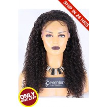 Super Deal 50% Off 10mm Curl Lace Frontal Wig,Brazilian Virgin Hair Natural color,20 inches 150%, Small Size, Medium Brown lace