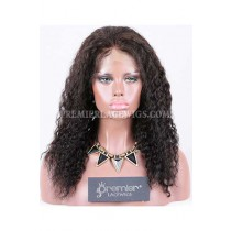 Clearance Full Lace Wig,Chinese Virgin Hair,Deep Wave,1B#,16 inches,120% Normal Density,Small Size,Light Brown Lace.