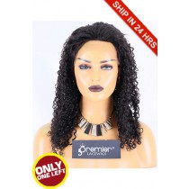 Super Deal 50% Off 10mm Curl Lace Front Wig, Brazilian Virgin Hair 1B# 18 inches 130%, Medium Size, Medium Brown lace
