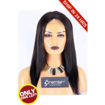 Super Deal 50% Off Yaki Straight Lace Frontal Wig, Indian Remy Hair 1B# 14 inches 130%, Medium Size, Medium Brown lace