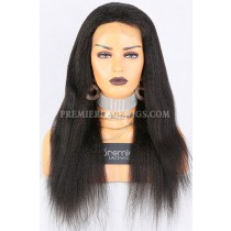 Clearance Silk Top Full Lace Wig,Kinky Straight,Indian Remy Hair,1B# Color,20 inches,150% Thick Density,Medium Cap Size