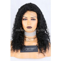Clearance Glueless Full Lace Wig,15mm Curl,Indian Remy Hair, 1# Jet Black,18 inches,150% Thick Density,Small Cap Size