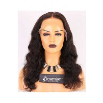 Clearance 6'' Lace Front Wig,Wavy,Indian Remy Hair,Natural Color,16 inches,150% Density,Medium Cap Size,Medium Brown Lace