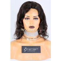 Clearance Silk Top Full Lace Wig,Short Wavy Bob,Indian Remy Hair,Natural Color,10 inches,120% Density,Small Cap Size