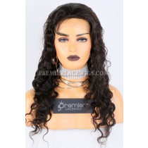 Clearance Glueless Silk Top Full Lace Wig,Deep Body Wave,Indian Remy Hair,Natural Color,22 inches,120% Density,Small Cap Size