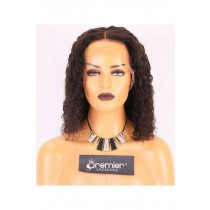 Clearance 6'' Lace Frontal Wig,Curly Bob,Indian Remy Hair,Natural Color,14 inches,150% Density,Medium Cap Size,Medium Brown Lace.Advanced Bleached Knots