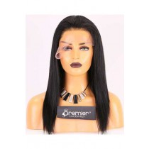 Clearance Lace Front Wig,Yaki Straight Indian Remy Hair, 1# 14 inches,130% Normal Density,Average Size,Medium Brown Lace