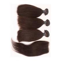 Clearance Light Yaki Virgin Indian Human Hair Extension 10'' Silk Base Closure with 3 Bundles 10'' Wefts