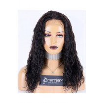 Natural Curl Indian Remy Hair Full Lace Wig,16inches,1B# Color,Medium Cap Size,120% Density