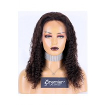 Deep Wave Brazilian Virgin Hair Full Lace Wig,16inches,Natural Color,Medium Cap Size,120% Density