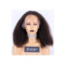Afro Curl Brazilian Virgin Hair Full Lace Wig,18inches,Natural Color,Medium Cap Size,120% Density