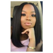 Silky Straight Brazilian Virgin Hair Lace Wig,Long Bob Blunt Cut, Improved 360°Anatomic Lace Wigs,150% Thick Density ,Pre-Plucked Hairline