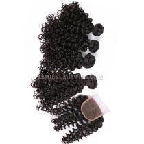 Peruvian Virgin Hair Candy Curl A Lace Closure With 4 Bundles Deal