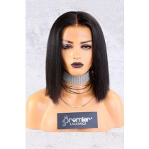 "13""x4.5"" Lace Frontal Wig,Italian Yaki Textured Bob, Middle Part,150% Thick Density [Advanced Pre-Bleached Knots,Pre-Plucked Hairline,Pre-Added Removable Elastic Band]"
