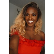Kiitanaxo's Blonde Ombre Hair Bob Style Lace Front Wig,Medium Size