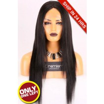 Super Deal Affordable Full Lace Wig,Indian Remy Hair 1B#,20 inches Light Yaki 120% Density, Medium Size,Medium Brown Lace